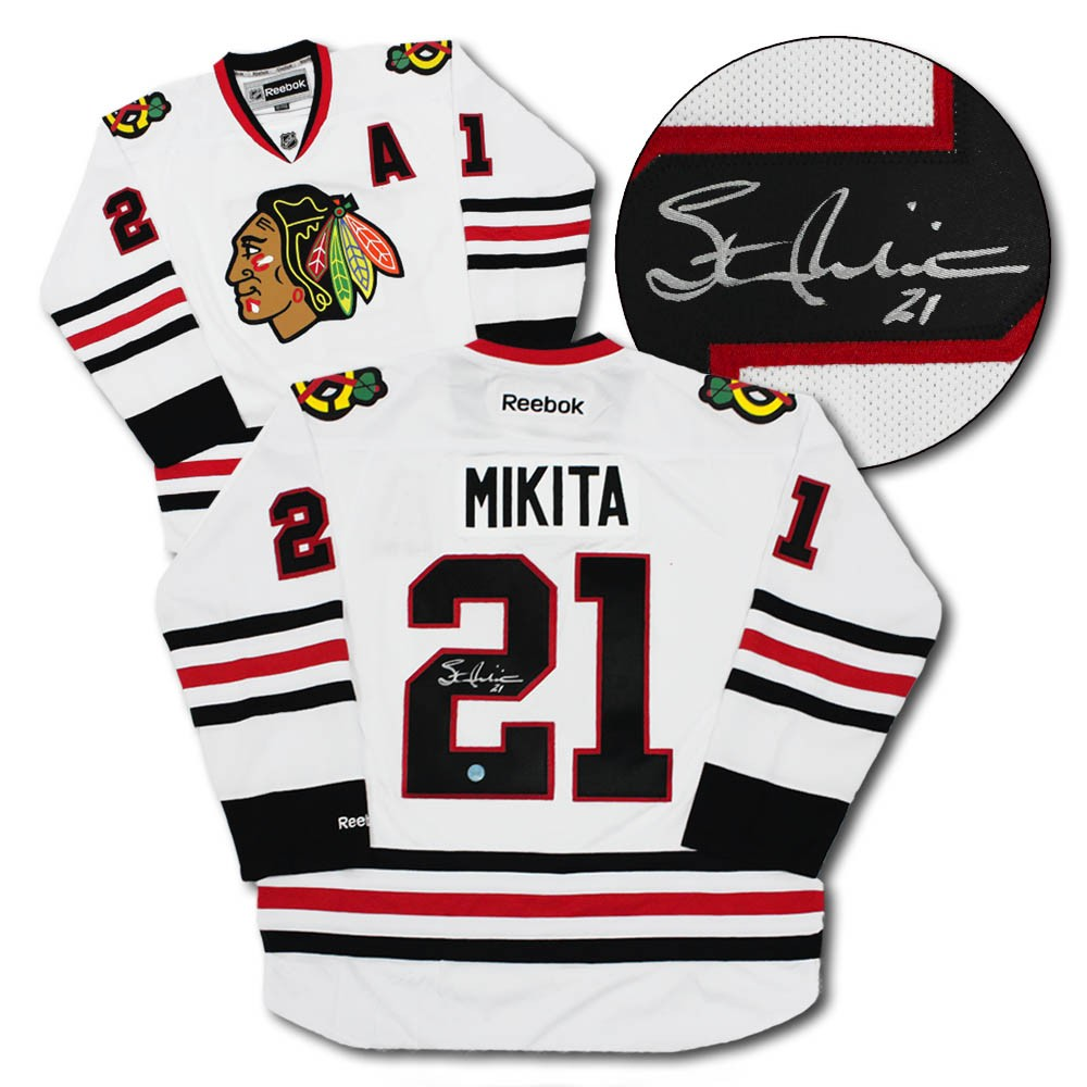 cheap for discount e2be2 78e3f Stan Mikita Chicago Blackhawks Autographed Signed White ...
