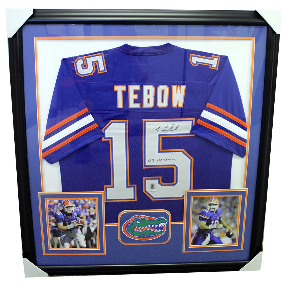 reputable site 47456 72e7a Tim Tebow Florida Gators Autographed Signed Framed Blue ...