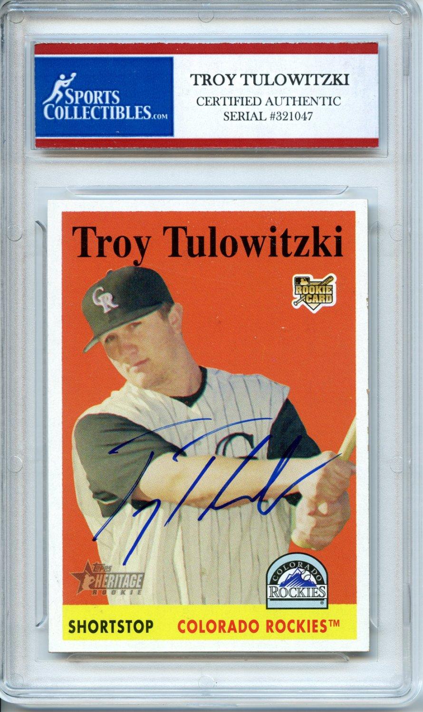 Troy Tulowitzki 2007 Topps Rookie Colorado Rockies Autographed