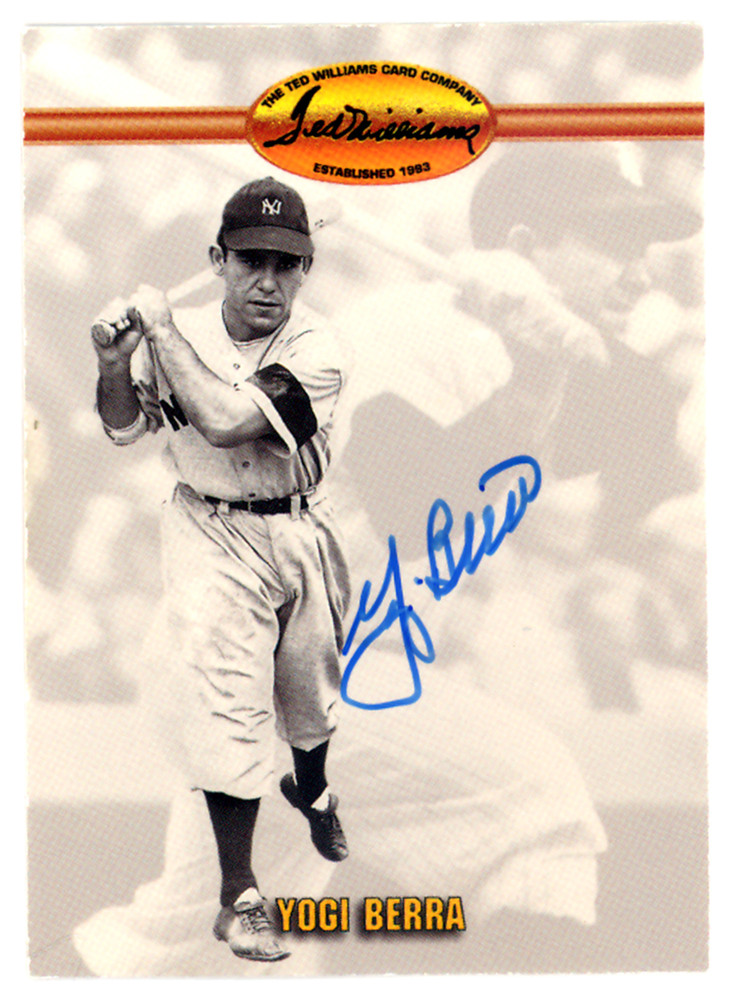 Yogi Berra Autographed Signed 1993 Ted Williams Company Card