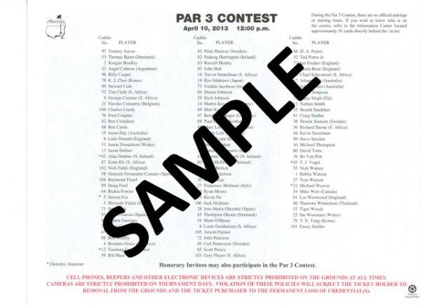2013 Masters Tournament Par 3 Contest Pairing Sheet - Winner Adam Scott