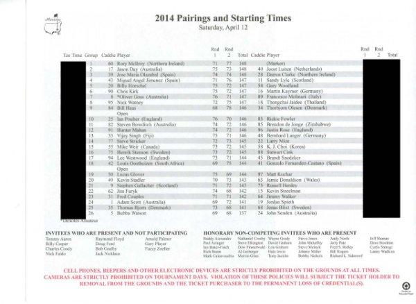 2014 Masters Tournament Saturday Pairing Sheet - Winner Bubba Watson