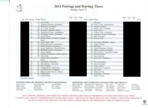 2014 Masters Tournament Sunday Pairing Sheet - Winner Bubba Watson