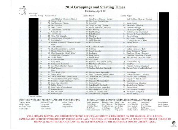 2014 Masters Tournament Thursday Pairing Sheet - Winner Bubba Watson