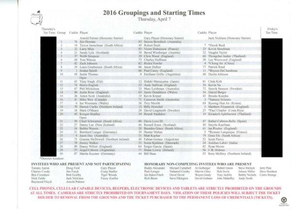 2016 Masters Tournament Thursday Pairing Sheet - Winner Danny Willett
