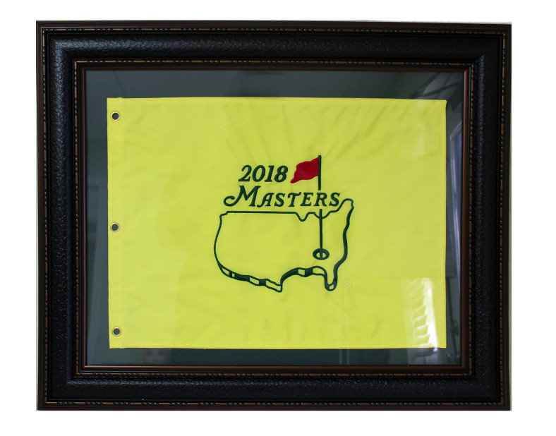 2018 Masters Pin Flag - Framed Leather Look