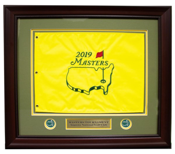 2019 Deluxe Framed Masters Embroidered Pin Flag