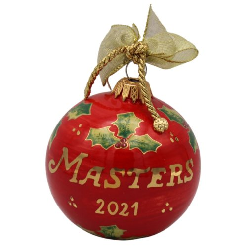 2021 Masters Hand Painted Red Ceramic Ornament