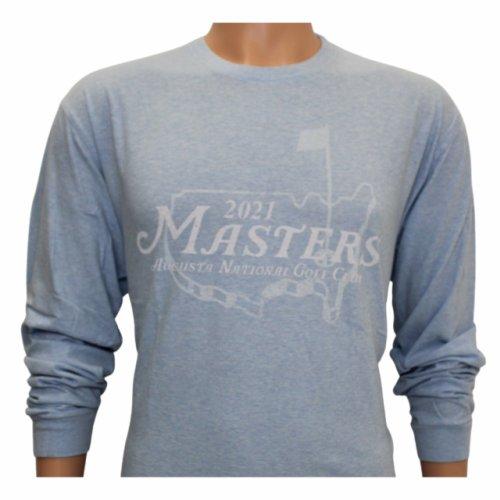2021 Masters Heathered Light Blue Long Sleeve Logo T-Shirt