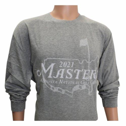 2021 Masters Long Sleeve Light Grey Logo T-Shirt