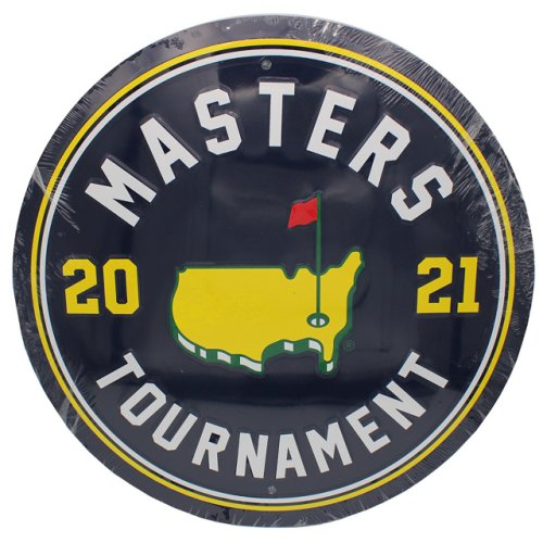 2021 Masters Round Navy Metal Wall Sign