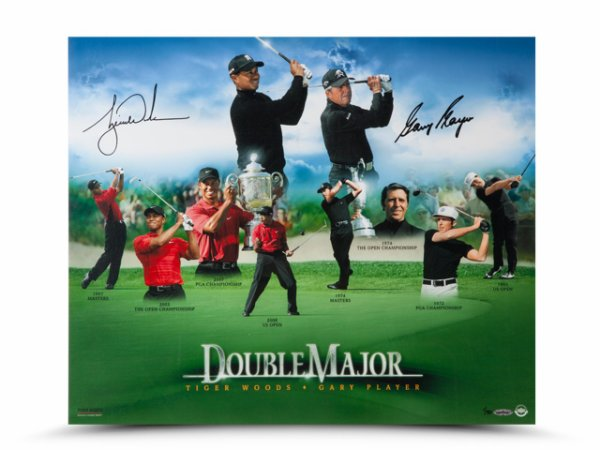 Authentic Tiger Woods and Gary Player Autographed Double Major 20x24 Photo