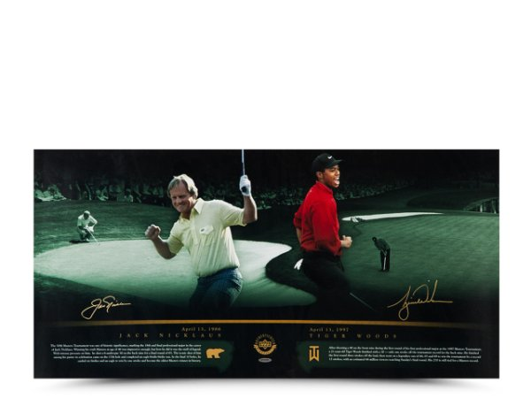 Authentic Tiger Woods & Jack Nicklaus Autographed 36 x 18 Photo - Masterful