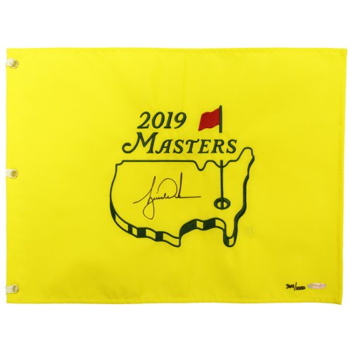 Autographed Tiger Woods 2019 Masters Embroidered Golf Pin Flag - Authentic