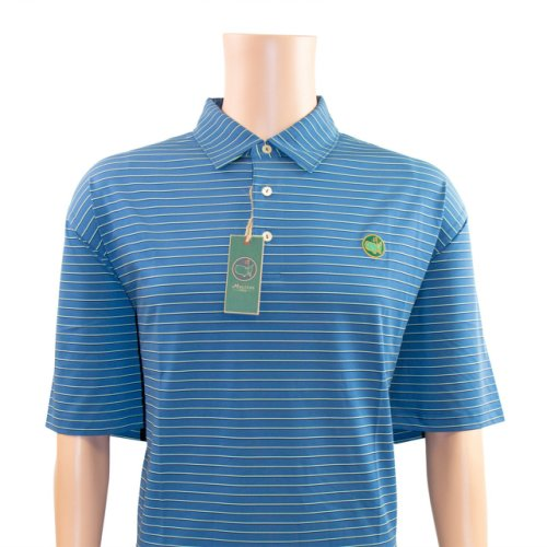 Berckmans Golf Polo Shirt - Cobalt Blue with Thin Mint and Navy Stripes