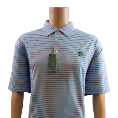 Berckmans Golf Polo Shirt - Light Blue with Thin Pink and Navy Stripes
