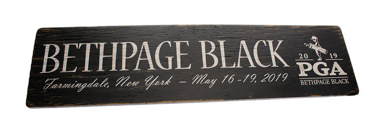 Bethpage Black Wooden Sign- Signs by the Sea 6x 24