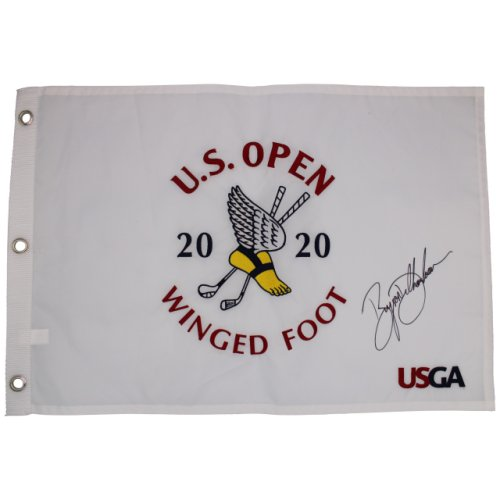 Bryson DeChambeau Autographed 2020 US Open Winged Foot Embroidered Flag - Certified Authentic