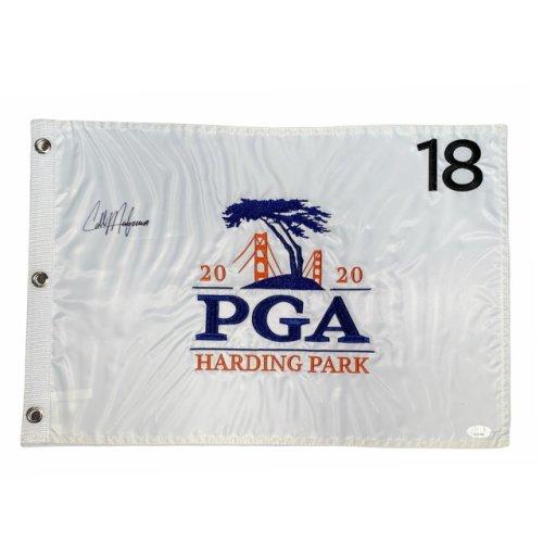 Collin Morikawa Autographed 2020 PGA Embroidered Flag - JSA Certified