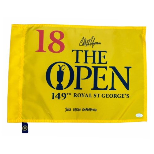 Collin Morikawa Autographed 2021 British Open Screen Flag with 2021 Open Championship inscription - JSA Certified