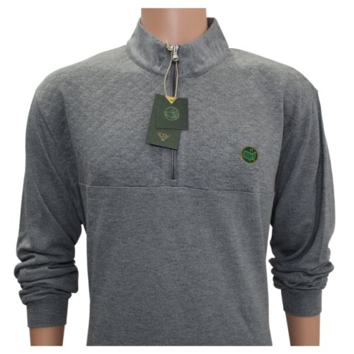 Masters Berckman's Luxury Grey Cotton Quarter Zip with Waffle Stitched Top