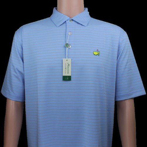 Masters Carolina Blue with Navy & White Thin Striped Peter Millar Performance Tech Golf Shirt