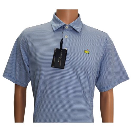Masters Clubhouse Blue and White Tight Stripe Polo