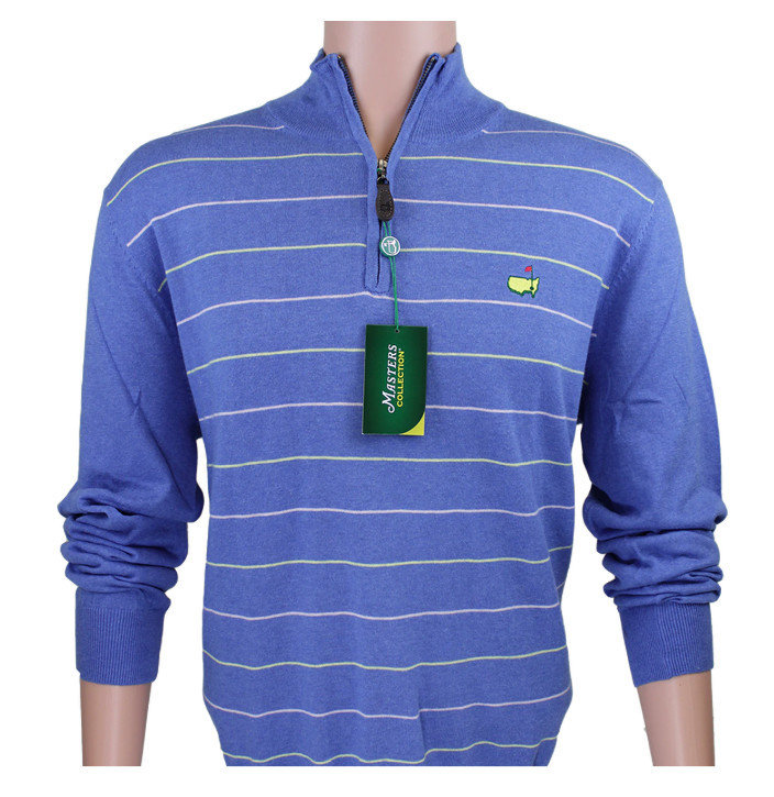 Masters Collection 1/4 Zip Cotton Pullover - Regatta Blue with Yellow and Pink Thin Stripes