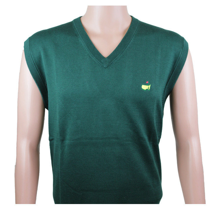 Masters Collection V Neck Sweater Vest- Augusta Green