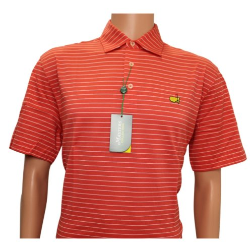 Masters Coral Jersey Polo with White Stripes