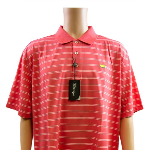Masters Coral & White Thin Striped Performance Tech Golf Shirt