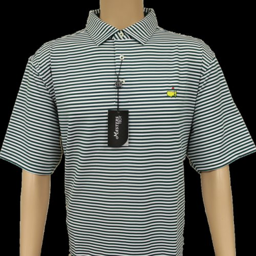 Masters Evergreen & White Striped Classic Performance Tech Golf Shirt (pre-order)