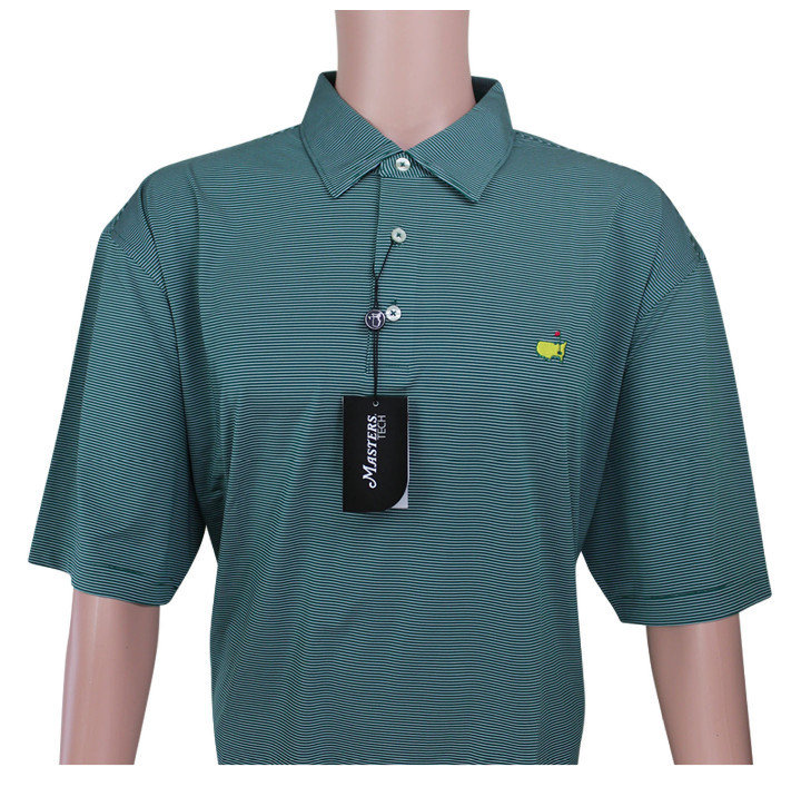 Masters Evergreen & White Tight Striped Performance Tech Golf Shirt