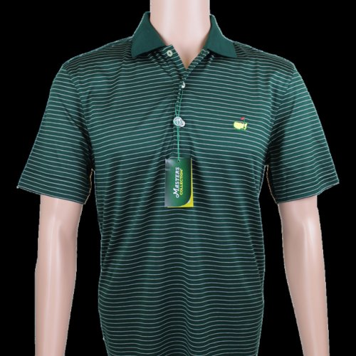 Masters Green and Thin White Striped Jersey Polo