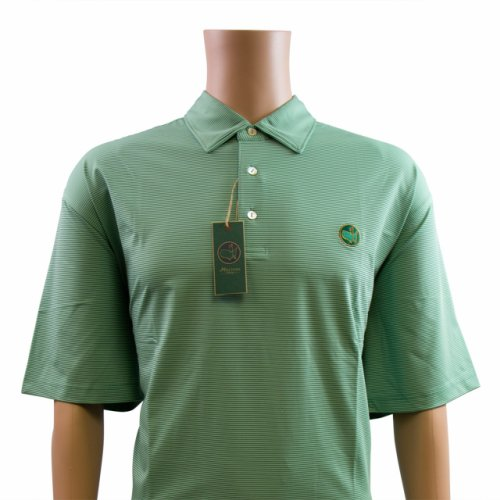Masters Green & Thin White Striped Performance Tech Golf Shirt