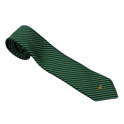Masters Green Tie with Silver Diagonal Stripes