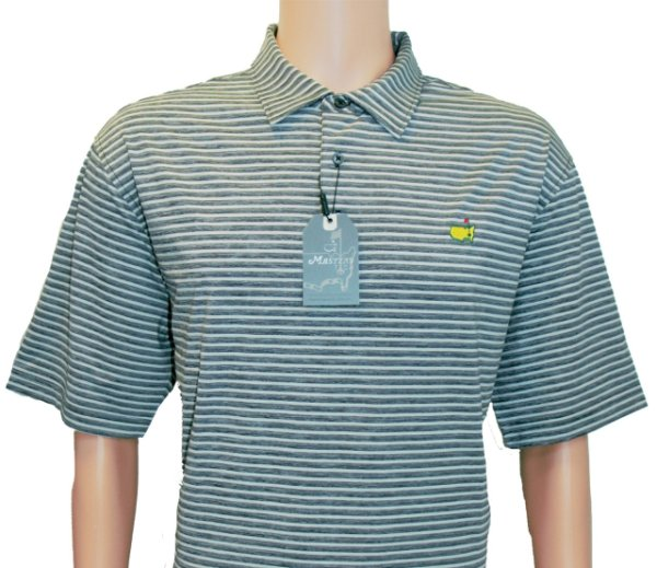 Masters Grey and Black Striped Performance Tech Shirt