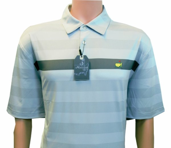 Masters Grey Performance Tech Shirt with Charcoal Stripe and Dot Pattern