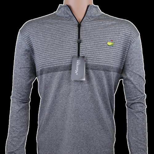 Masters Grey Striped Performance Tech Quarter Zip Pullover