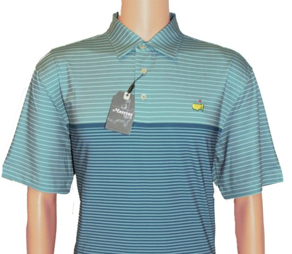 Masters Grey Tech Shirt with Teal and Ocean Blue Stripes
