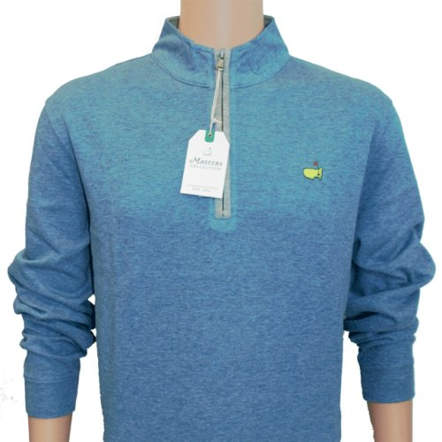 Masters Heather Blue Cotton 1/4 Zip Pullover with Light Grey Trim and Zipper