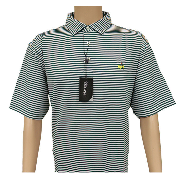 Masters Hunter Green & White Striped Performance Tech Golf Shirt