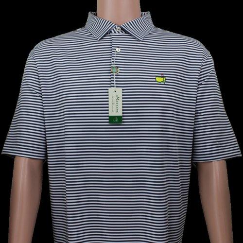 Masters Iron Grey & White Striped Peter Millar Performance Tech Golf Shirt