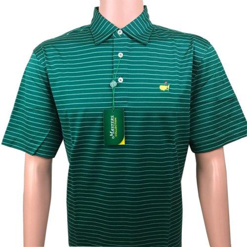 Masters Jersey Evergreen & Light Green Thin Striped Golf Shirt