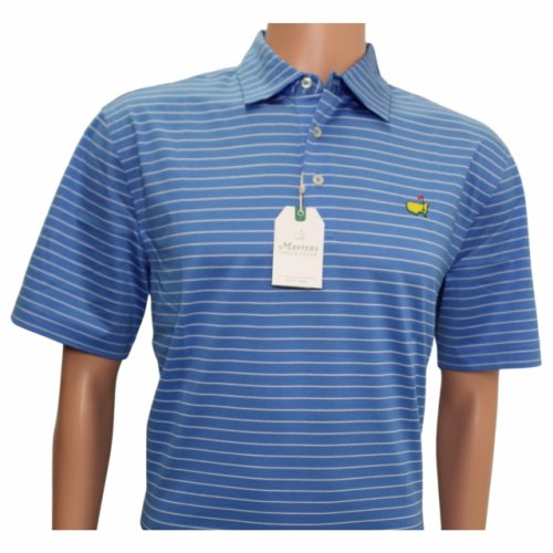 Masters Laguna Blue Jersey Polo with White Stripes