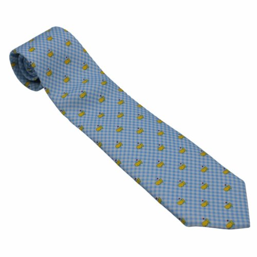 Masters Light Blue and White Gingham Tie with Yellow Flags by Vineyard Vines
