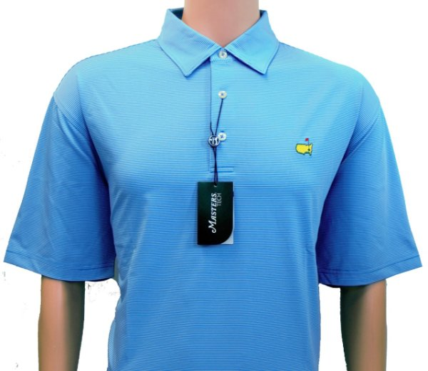 Masters Light Blue Tech Shirt with Tight White Stripes