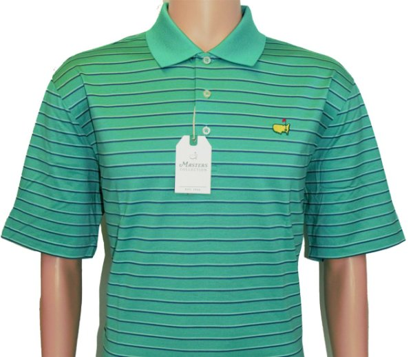 Masters Light Green Cotton Polo with Blue and White Stripes