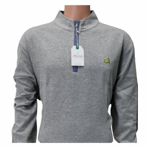 Masters Light Grey Cotton 1/4 Zip Pullover with Heather Blue Trim