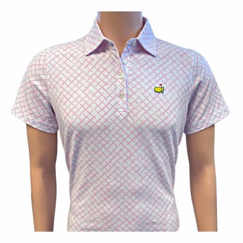 Masters Magnolia Lane Ladies Pink & White Design Tech Polo